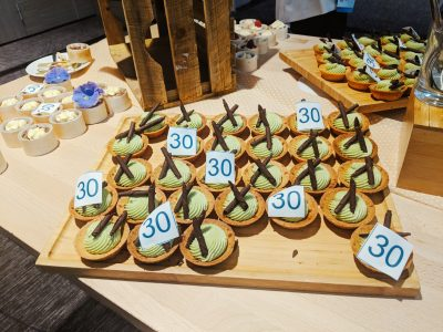 Small cakes for the 2018 ACTE annual summit displayed on a tray